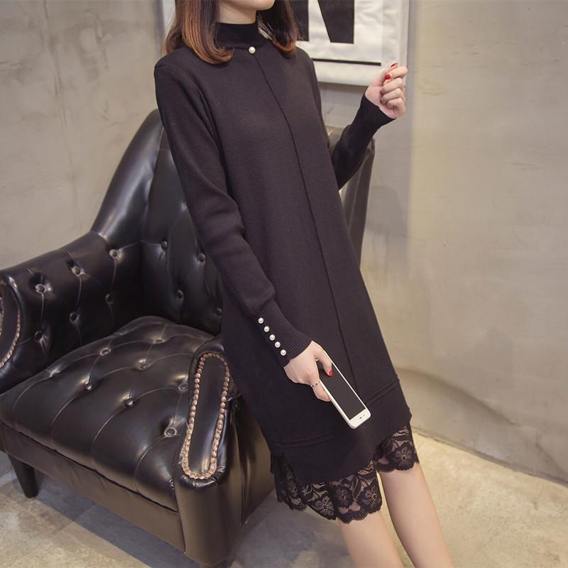 边长打底钉珠蕾丝款过膝针织连衣裙女秋冬韩版毛衣长袖衫套头纯色