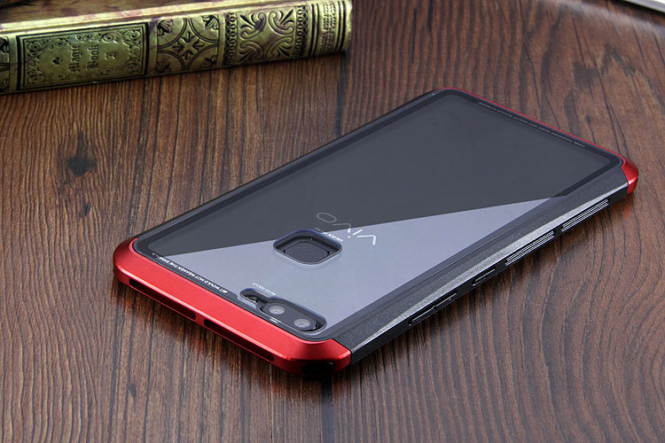 Luphie Nunchaku Airframe Metal Frame Air Barrier Tempered Glass Back Case Cover for vivo X20