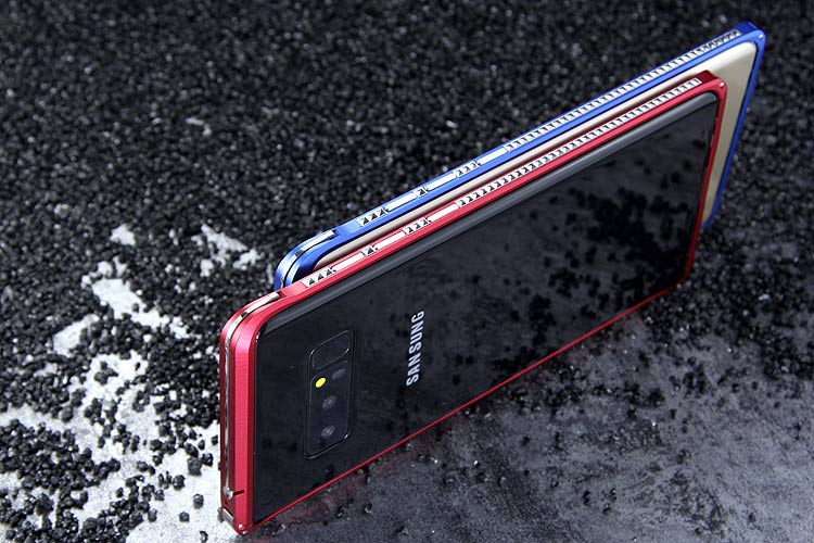 iMatch Slim Light Aluminum Metal Shockproof Bumper Case with Kickstand for Samsung Galaxy Note 8