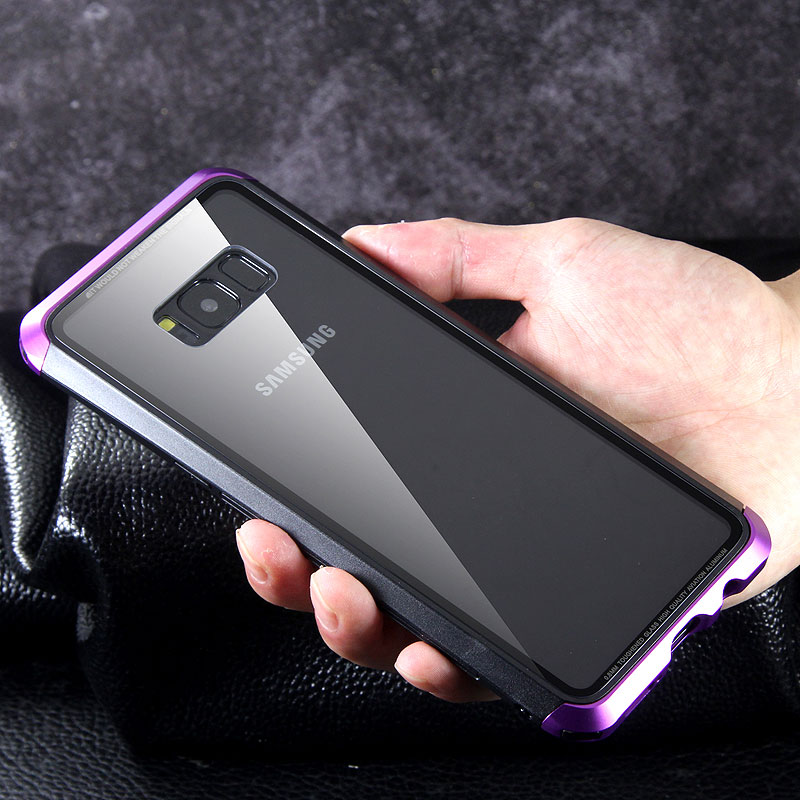 Luphie Nunchaku Airframe Metal Frame Air Barrier Tempered Glass Back Case Cover for Samsung Galaxy S8 Plus & Galaxy S8