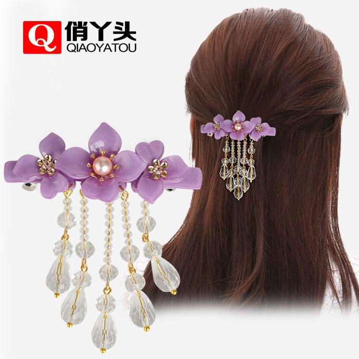 复古典珍珠水晶发卡一字弹簧夹顶夹花朵流苏亚克力发夹发饰品小号