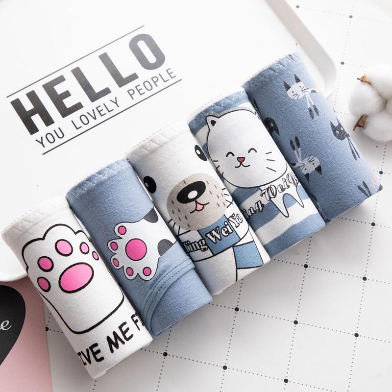 Quần lót nữ cotton cotton đáy quần không vi khuẩn mid-eo cô gái hoạt hình mèo tam giác quần short sọc - Vòng eo thấp