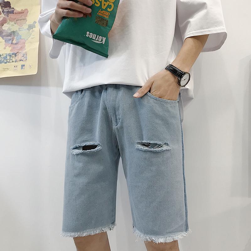 夏季港风新款男士宽松破洞五分裤韩版潮流牛仔裤学生短裤子uzlang
