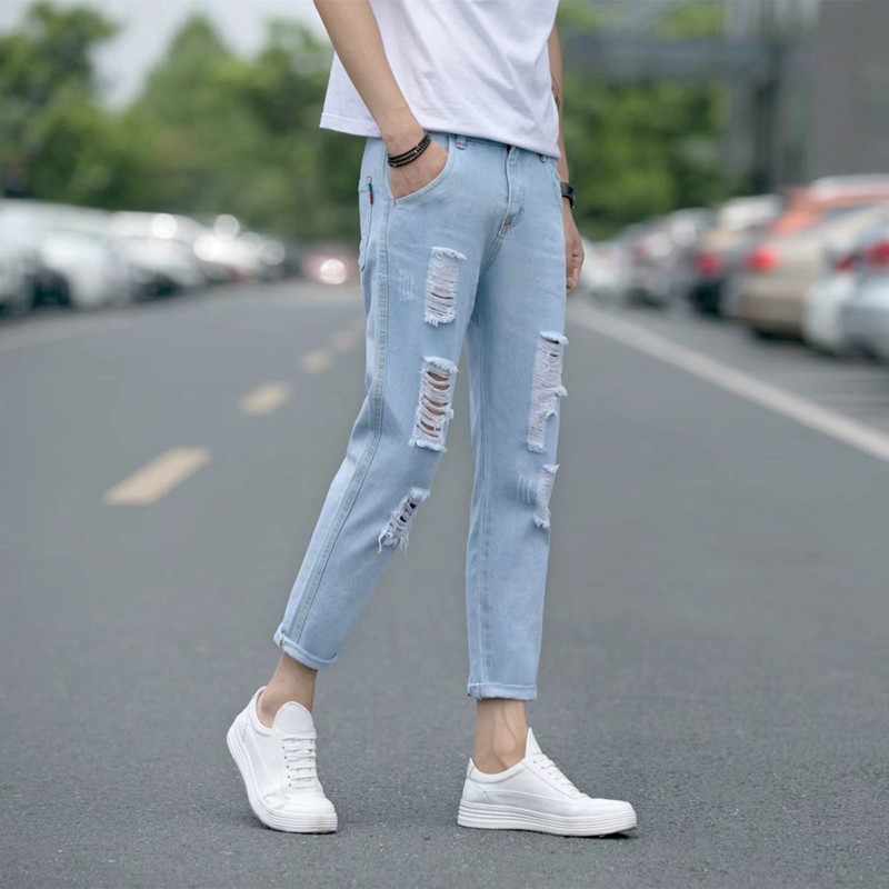 6ef504897b6 ... thin feet pants tide. Hong Kong spring and summer washed white hole  youth wild men's nine points jeans Korean version · Zoom · lightbox  moreview ...