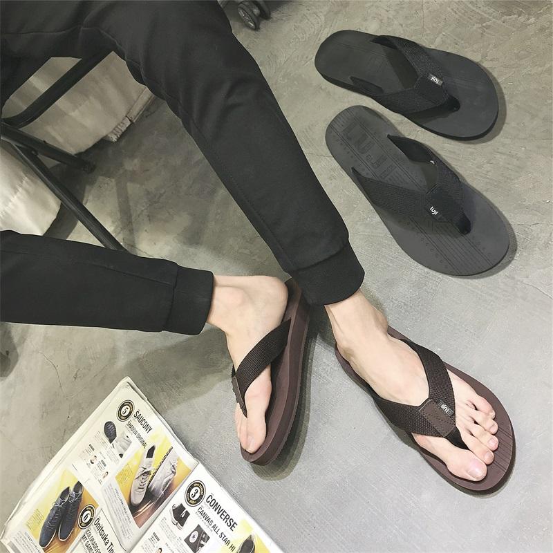 鹿姬夏季潮流人字拖男士防滑夹脚韩版纯色户外休闲沙滩鞋凉拖鞋男