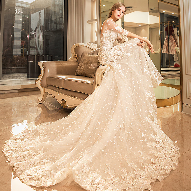 Yuan Fisani wedding 2018 new wedding summer wedding dress bride long ...