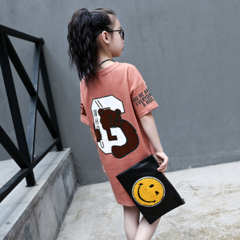 童装女童2020新款夏装短袖T恤儿童中长款上衣中大童韩版体恤衫潮