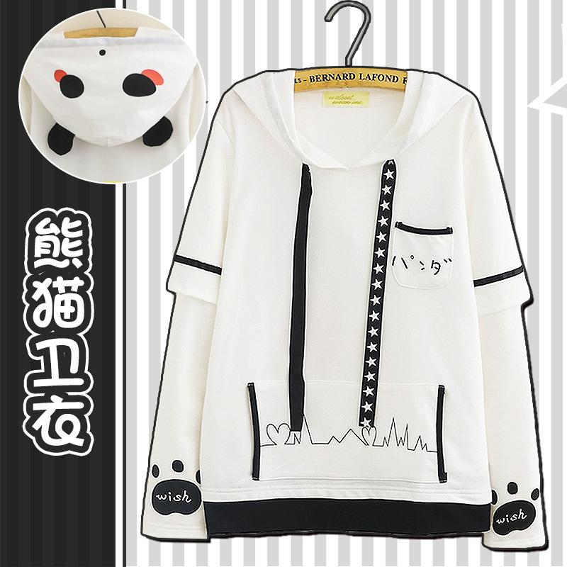二次元熊猫长袖卫衣日系可爱男女连帽加绒外套动漫周边秋冬衣服