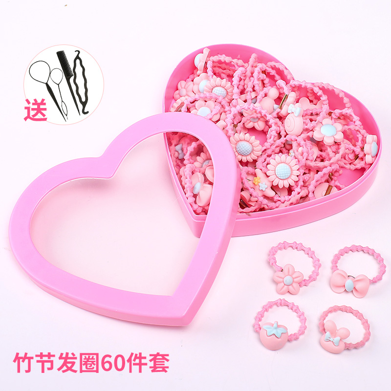 4# powder bamboo hair ring 60 sets