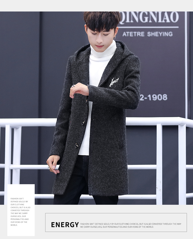 Winter windcoat men's middle and long Korean version of the trend with a cap plus plush thick wool coat men's coat 55 Online shopping Bangladesh