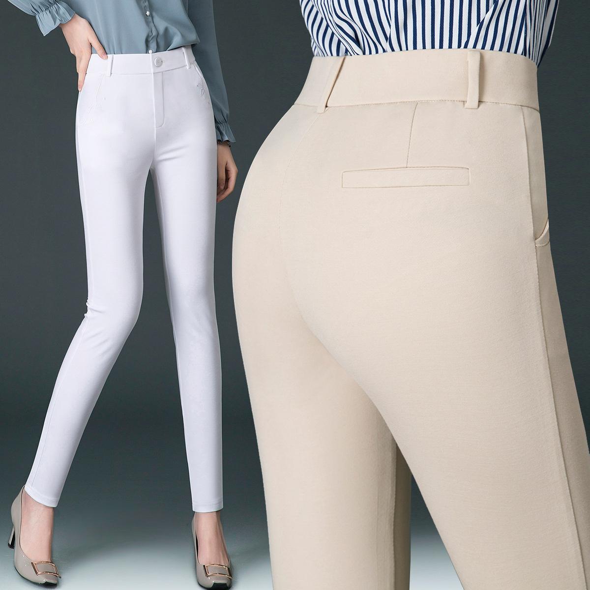 四面妈妈女裤休闲裤2019夏季薄款中年长裤小脚装高腰弹力显瘦女士