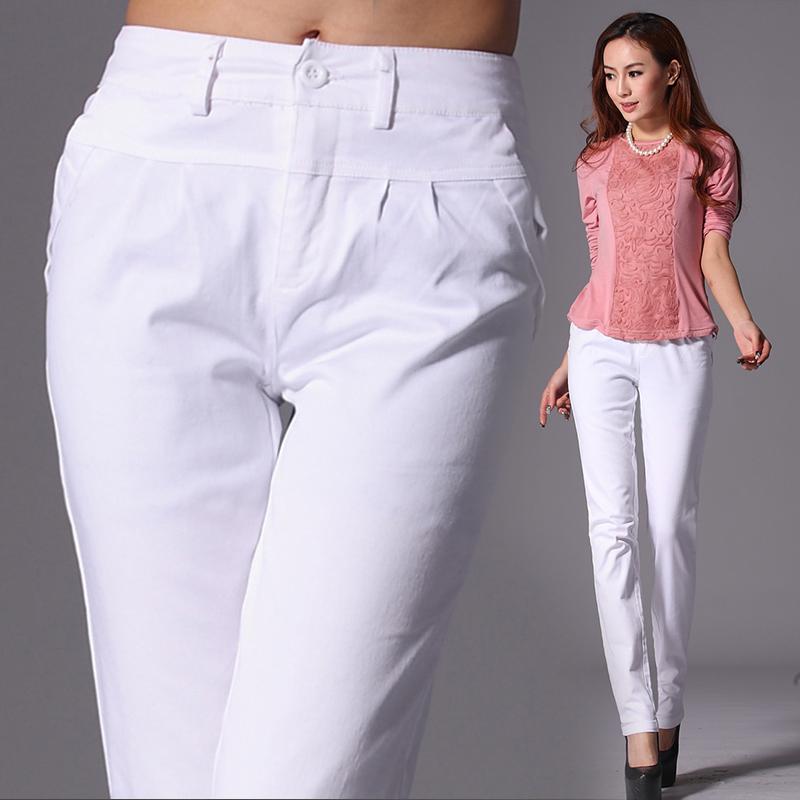Quần cotton mùa xuân và mùa thu giản dị của phụ nữ quần chân quần bút chì quần trắng mỏng mẹ trung niên quần harem là quần mỏng - Khởi động cắt