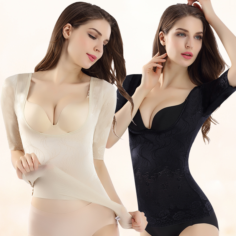 Thin section short-sleeved fat-burning bodyless corset corset abdomen body body suit shaping clothes plastic body tights