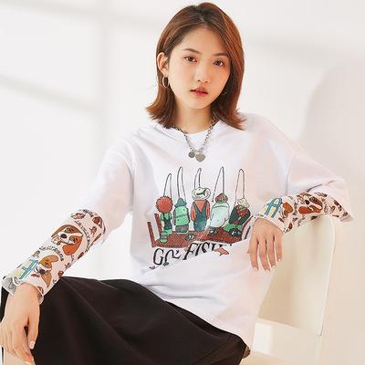 范奎恩韩版大码女装胖MM2021春装新款宽松打底衫短袖两色显瘦T恤