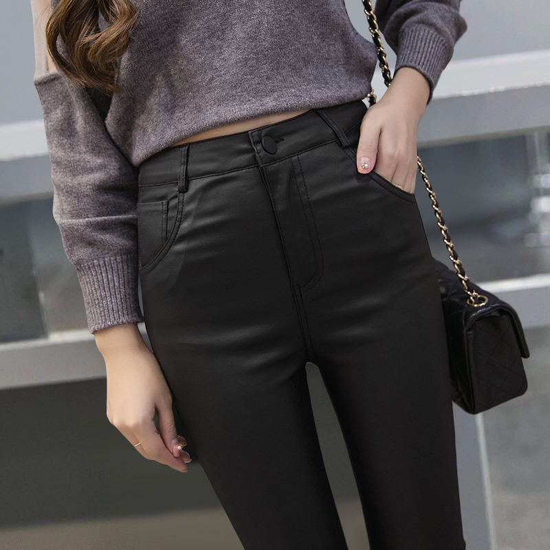 Spring, autumn and winter new high-waist elastic slimming leather pants women's outer wear plus velvet nubuck leather pants leggings women trend
