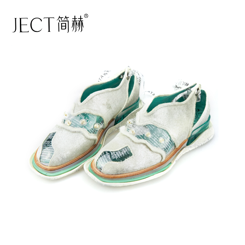 Jane heh 2019 spring and summer New cattle hair film rivets shoes comfortable non-slip lace breathable wipe color fashion sandals