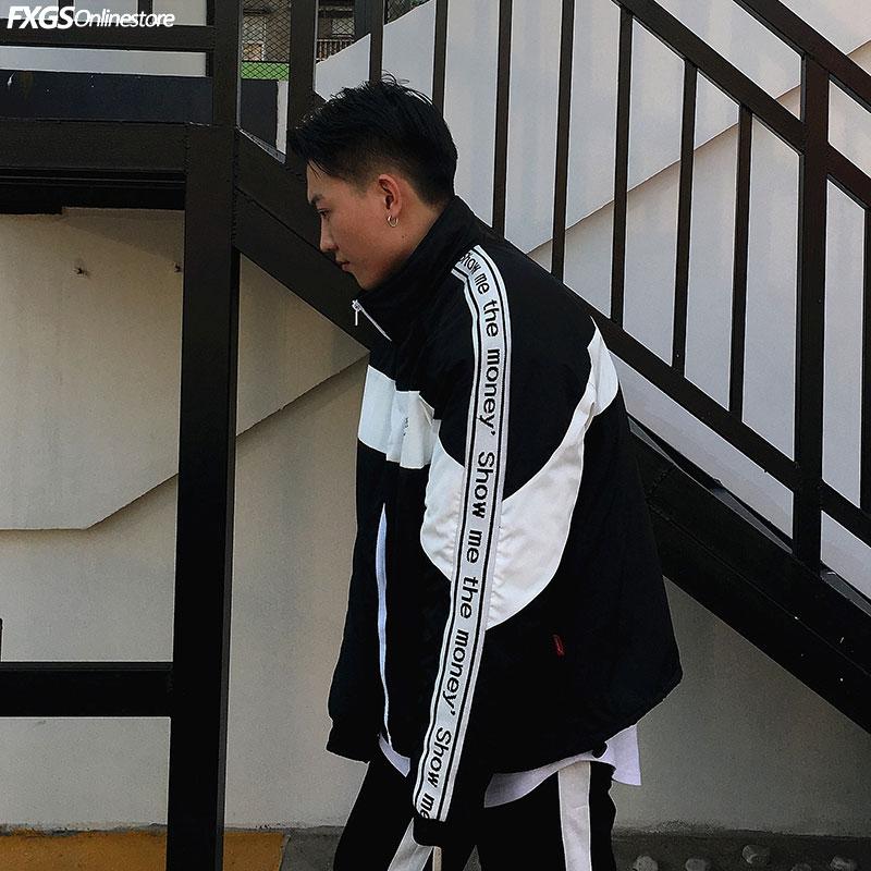 Mỹ đường phố giản dị hoang dã webbing thư khâu thể thao đứng cổ áo mỏng áo gió nam giới và phụ nữ sinh viên tide thương hiệu áo