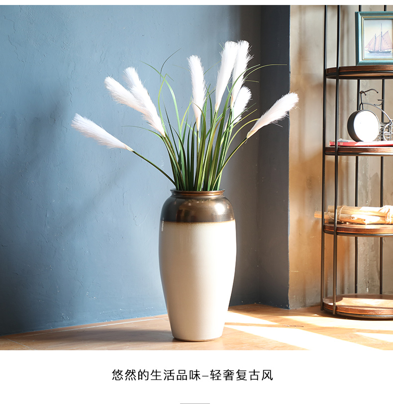 Jingdezhen ceramic vase landed stateroom dried flower vase light key-2 luxury furnishing articles Nordic white I and contracted decoration