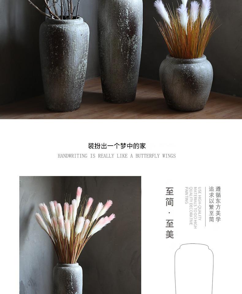 Wide caliber vase modern fashion old pottery vase furnishing articles flower arranging dried flower vase reed sitting room suit coarse pottery