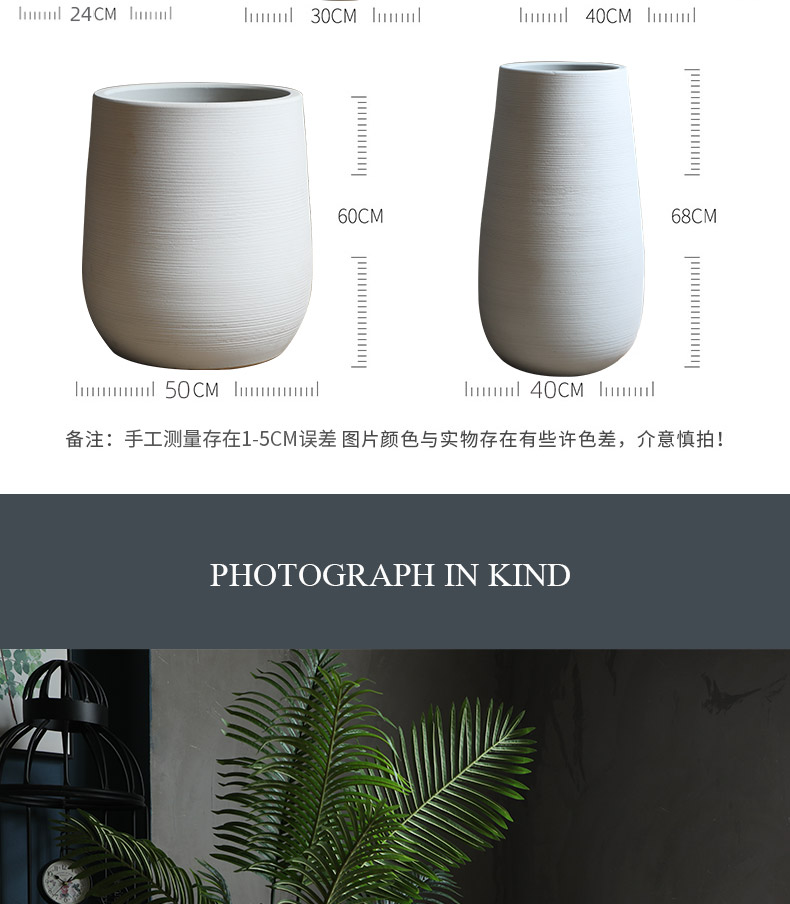 Modern new Chinese style white ceramic flower pot hydroponic POTS of large diameter plant floor indoor flower decoration flower bed