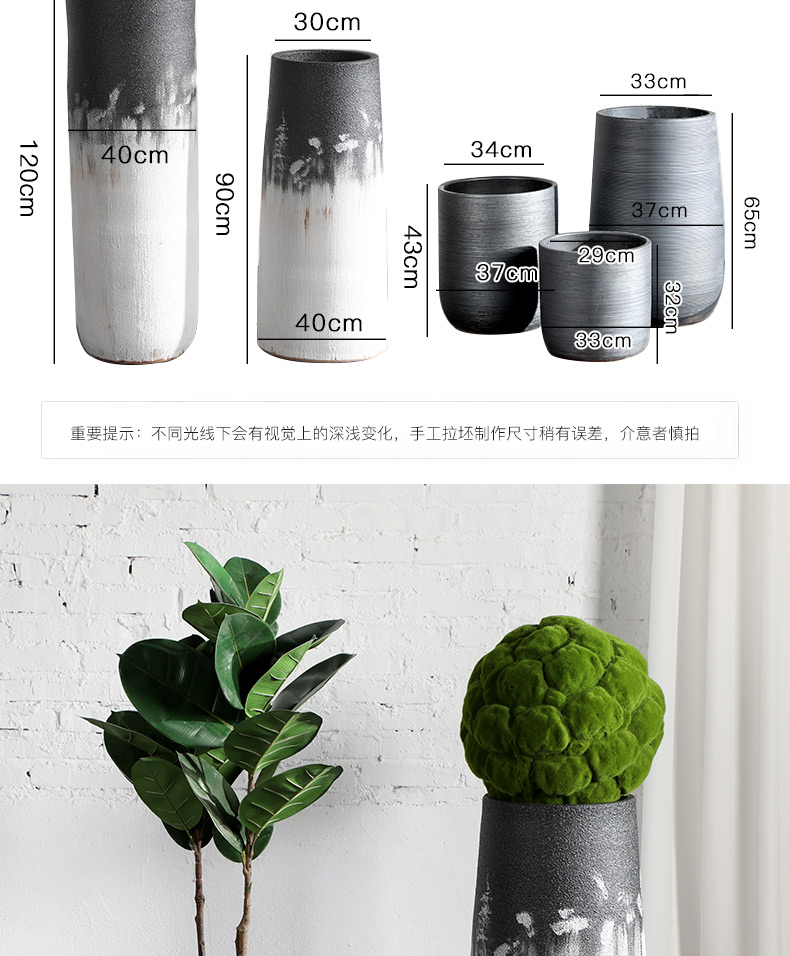 Green, the plants of large diameter Nordic black ceramic vase flowerpot I and contracted indoor plant decoration cylinder water jugs
