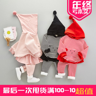 2017 children's clothing plus cashmere 1-2-3 years old female baby long-sleeved suit cotton 6-7-8 months two-piece set of children's autumn