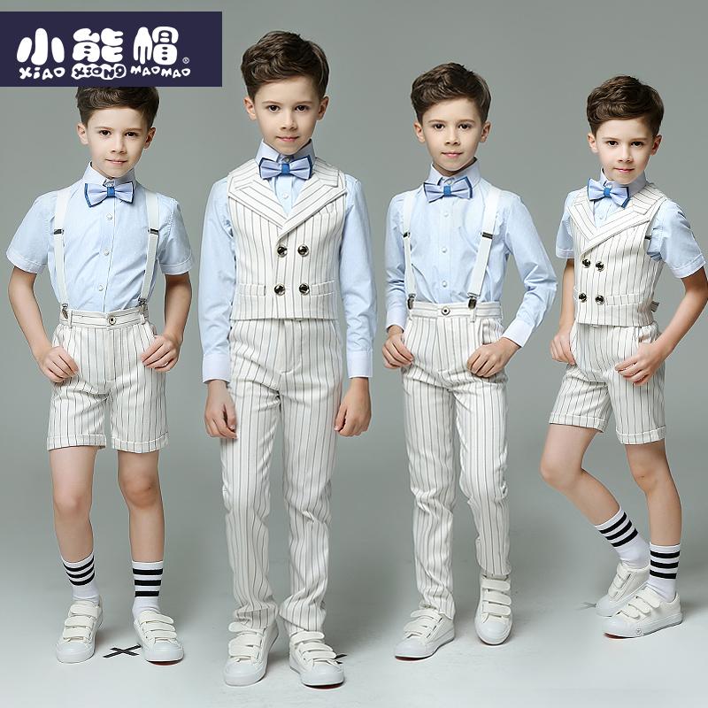 Trai ăn mặc Xia Yinglun vest phù hợp với học sinh sàn catwalk Liuyi trang phục hoa cô gái ăn mặc trẻ em ăn mặc nam