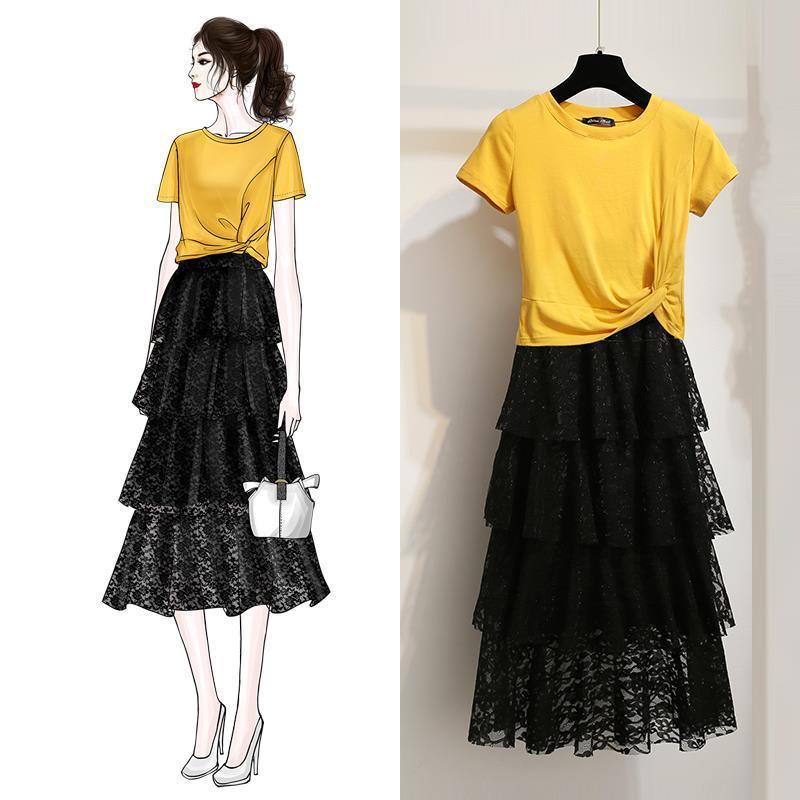 2019新款裙子套裙女装超仙中长款件套裙夏装裙女夏两时尚蛋糕套装