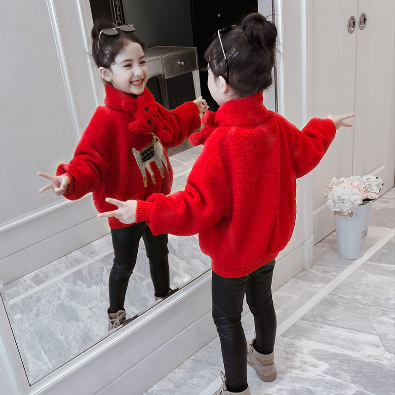 Girls sweater 2019 new Korean version of the winter outfit with cashmere cashmere sweater little girl thickened children's fur coat