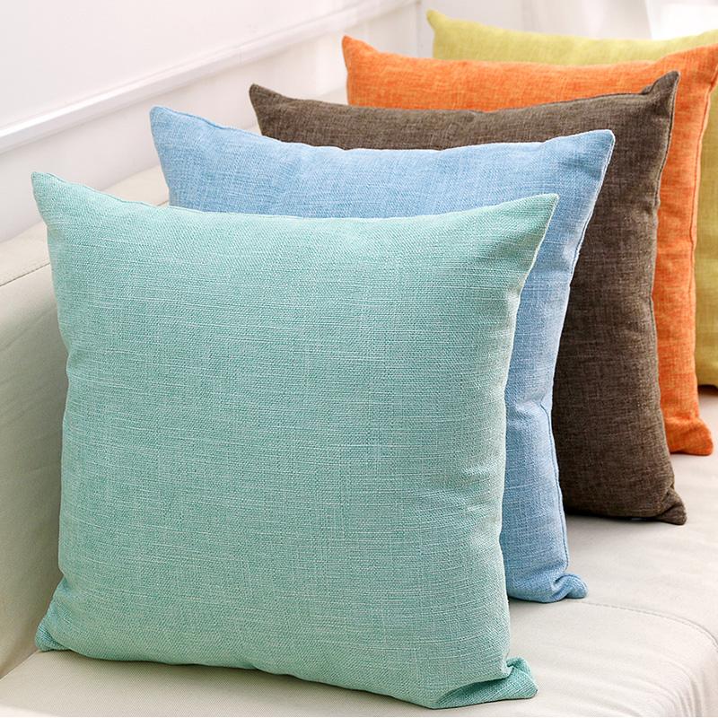 加厚棉麻抱枕靠垫沙发客厅办公室床头靠枕套亚麻纯色布艺汽车腰枕