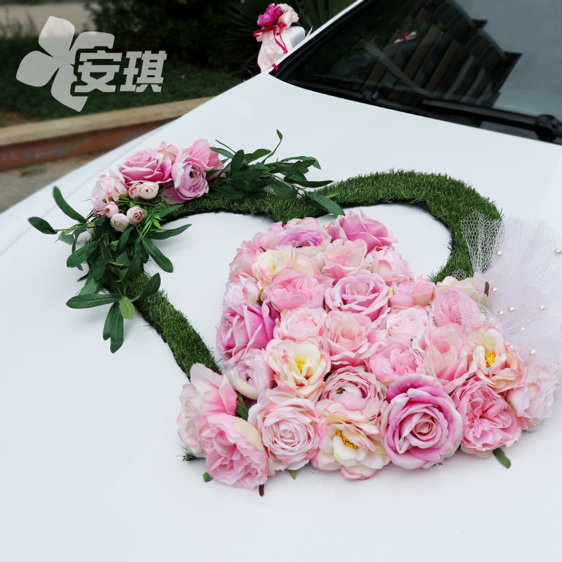 Special lawn wedding car decoration set Mori green plant simulation float team Champagne pink rose wedding gift
