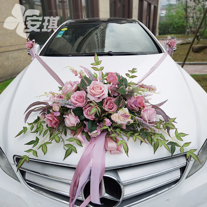 Simulation of the main wedding car decoration front flower set European wedding ceremony arrangement innovative style to welcome the deputy team flower plate