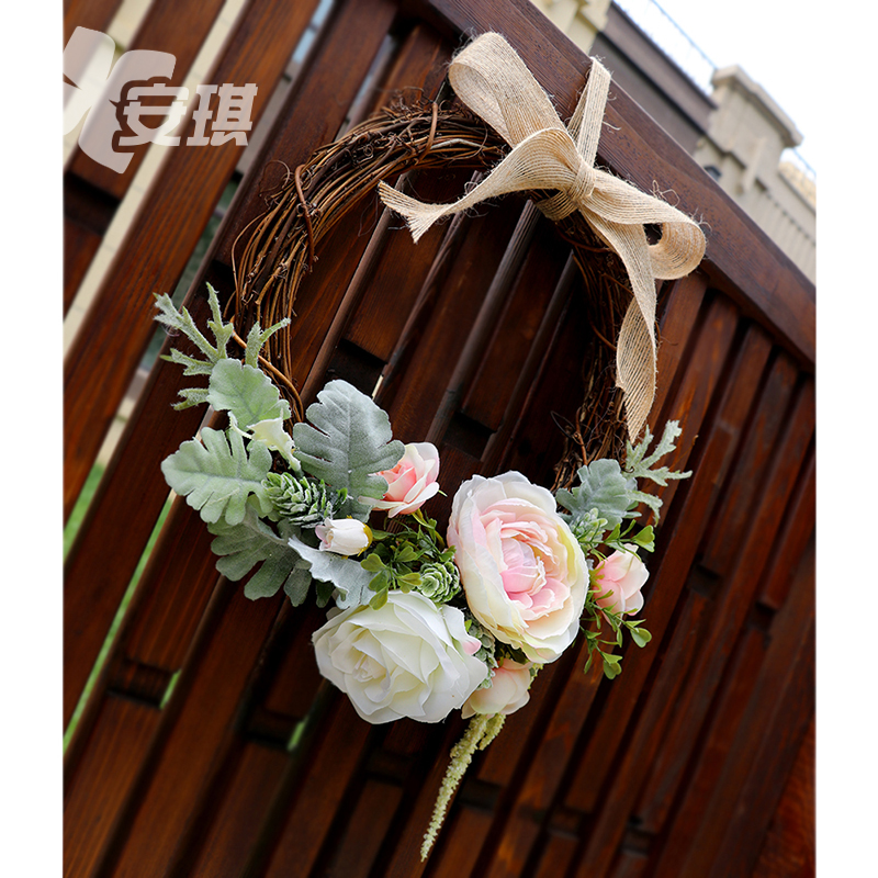 European wedding ceremony door hanging wreath fresh forest hand-made lintel wedding room decoration simulation rose wall decoration creativity