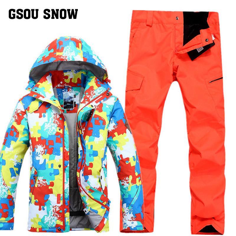 Gsou Snow катание на лыжах одежда мужской костюм моно,парный доска водонепроницаемый нижнее белье катание на лыжах одежда куртка зимний сохраняющий тепло