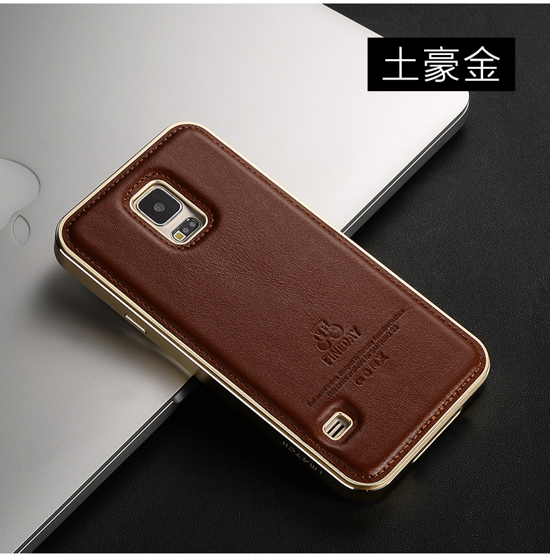 iMatch Luxury Aluminum Metal Bumper Premium Genuine Leather Back Cover Case for Samsung Galaxy S5