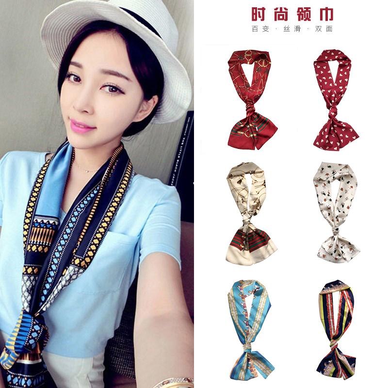 新款春季装饰百搭绸缎小女士潮流夏季新款韩国印花短围巾丝巾领巾