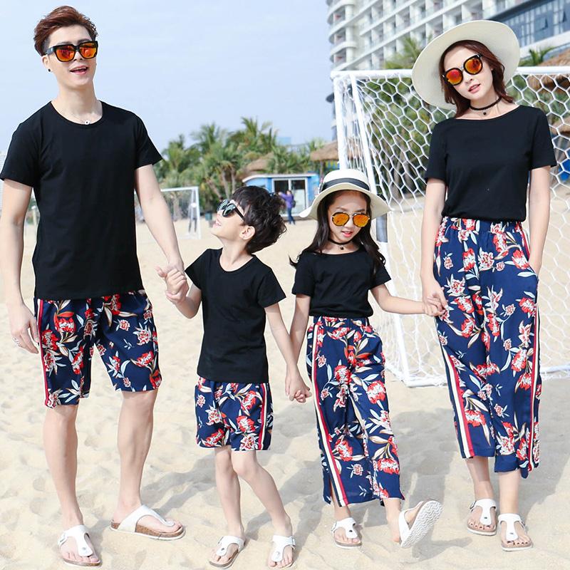 亲子装夏装2019新款潮全家装一家三口家庭装母女装阔腿裤时尚套装