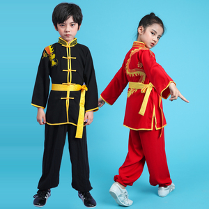 Boys Martial arts Kungfu & Tai-Chi Uniforms for Girls Children martial arts performance competition Taiji Kung Fu costume long short sleeve martial arts school boys and girls Kung Fu performance clothing