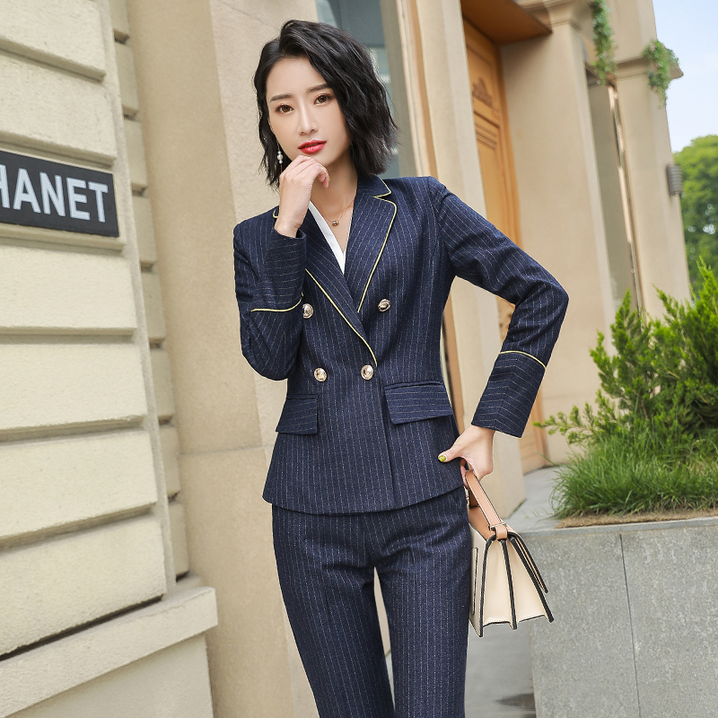 bf6fd22d55 Dress professional striped suit female 2018 New temperament work suit autumn  and winter slim ol workplace interview suit
