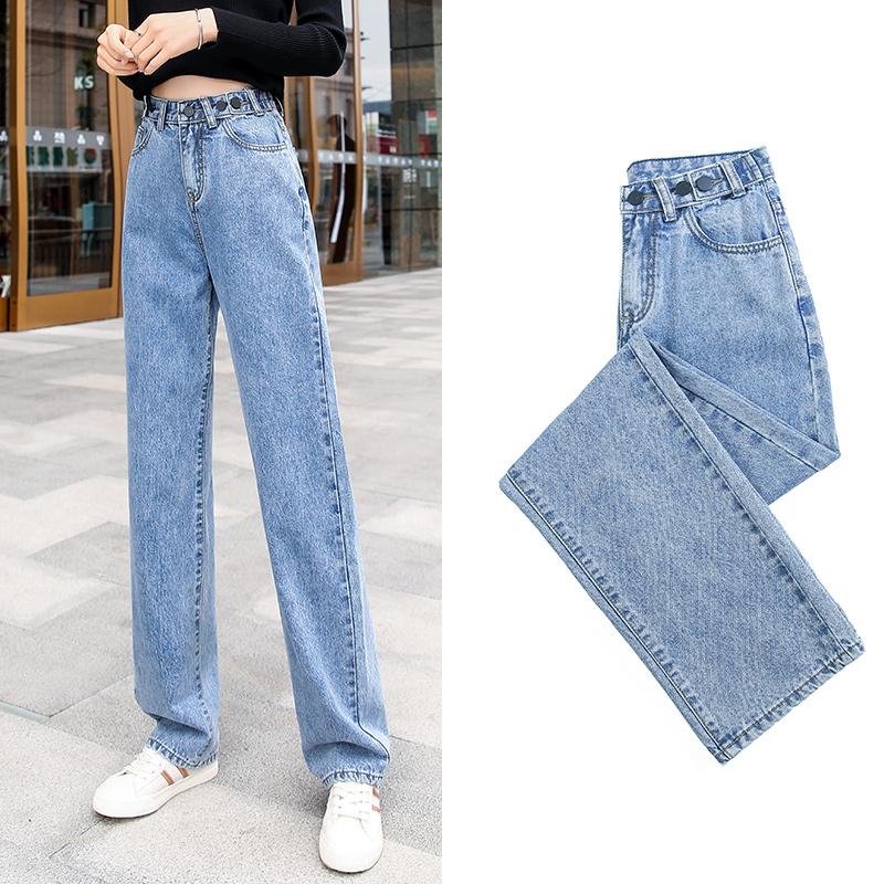 牛仔裤女裤2020春夏季新款宽松直筒高腰阔腿显瘦阔腿垂感拖地长裤