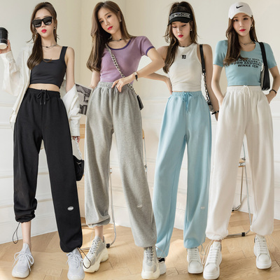 taobao agent Gray tie-foot sports pants women's 2021 spring and autumn new slim pants casual loose straight wide-leg pants ins tide
