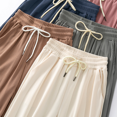 taobao agent Corduroy ice silk wide-leg pants women's summer thin section high waist drape loose straight spring and autumn white mopping casual pants