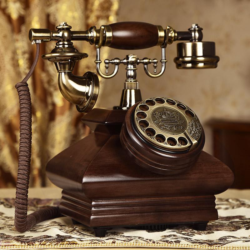 复古电话机电话家用实木插卡座机v电话老式时尚转盘创意无线仿古
