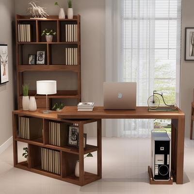 實木書桌現代簡約多功能旋轉家用辦公電腦桌轉角實木書桌書架組合