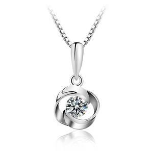 镶施华洛真银玫瑰花型镶钻吊坠项链