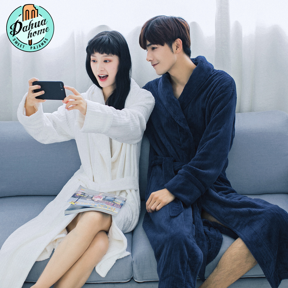 d3082a9746 Winter couple thick coral velvet robe flannel bathrobe autumn and winter  home service pajamas long-