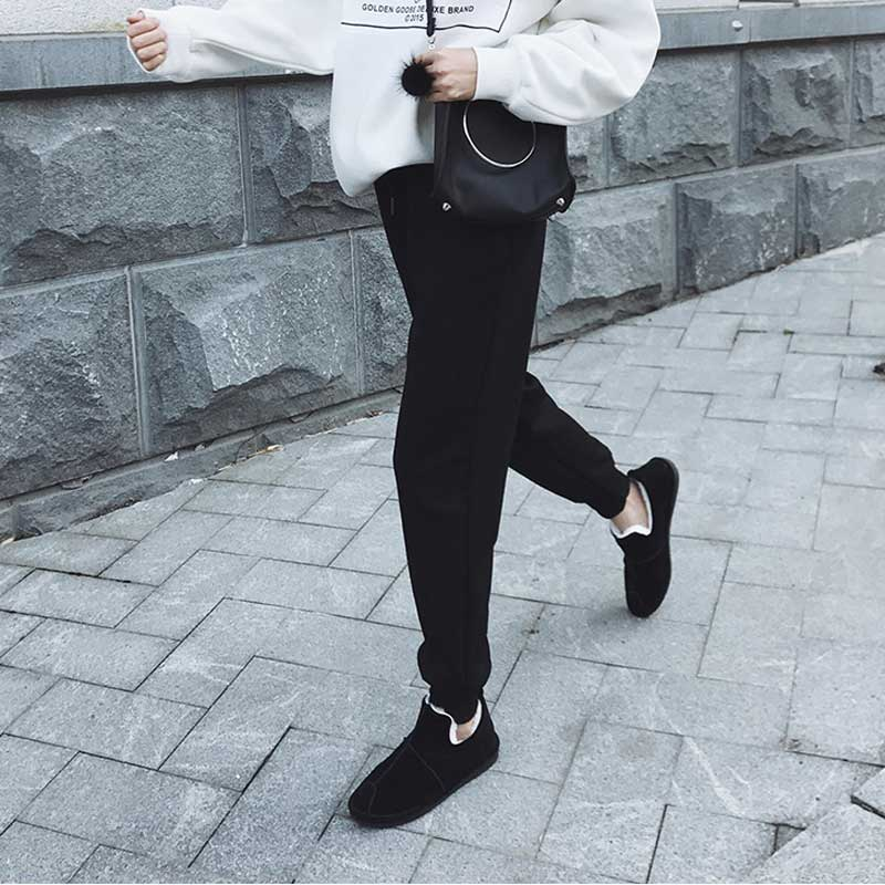 加绒运动裤女黑色韩版卫裤