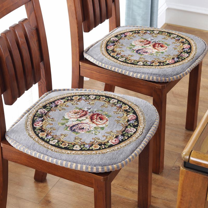 欧式加厚提花餐椅垫可拆洗布艺椅子垫四季座垫有绑带坐垫防滑包邮