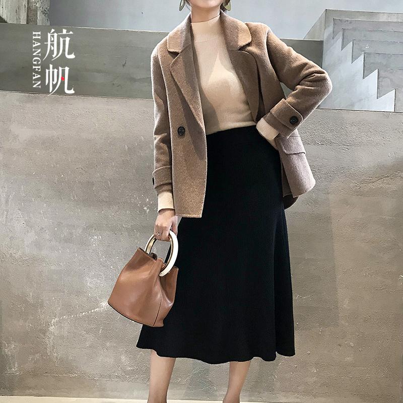 秋冬装新款大衣外套女式羊绒中年驼毛双面呢子短款羊羊毛西装领