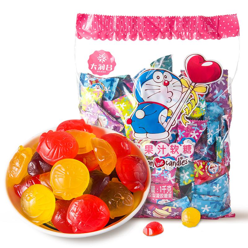 大润谷哆啦A梦橡皮糖果汁软糖婚庆喜糖布丁果冻混合水果味1000g